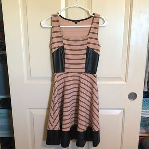 Tan&black striped dress